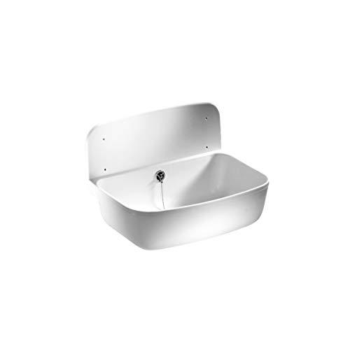 Sanit Wandausgussbecken (schlagfester Kunststoff, weiß, Fassungsvermögen 13,5 l, Überlauf, Zubehör) 60.001.01..0099