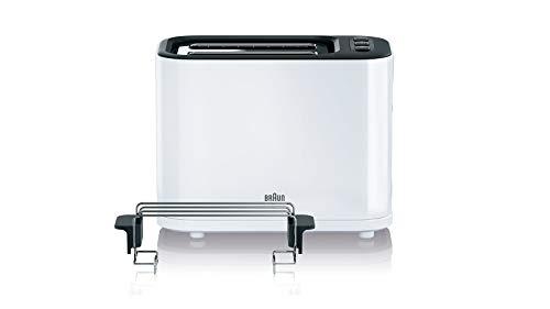 Braun HT 3010 WH Toaster   Doppelschlitz   Herausnehmbare Krümelschublade   Aufwärm- und Auftaufunktion   7 Röstgrade   Separater Brötchenaufsatz   Weiß