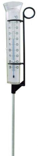 93200 Großer Kombi Regenmesser mit Garten - Thermometer Analog. Gartenthermometer und Niederschlagsmesser mit Metall Erdspieß