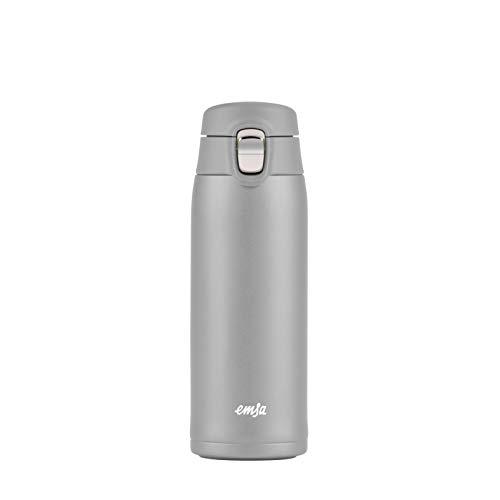 Emsa N21510 Travel Mug Light Thermo-/Isolierbecher aus Edelstahl | 0,4 Liter | 8h heiß | 16h kalt | BPA-Frei | 100% dicht | auslaufsicher | spülmaschinengeeignet | Klappverschlussystem | Grau
