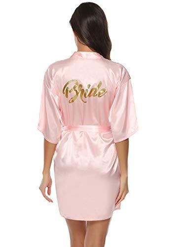 Aibrou Damen Kimono Morgenmantel Kurz Satin Robe Bademantel Nachtwäsche Sleepwear V Ausschnitt mit Gürtel für Party Hochzeit Braut Rosa XL
