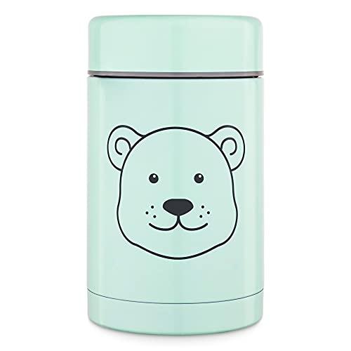 Navaris 500ml Thermobehälter für Babybrei - Edelstahl Thermobecher für Essen Snacks - Thermo Behälter Isolierbehälter auslaufsicher - mintgrün