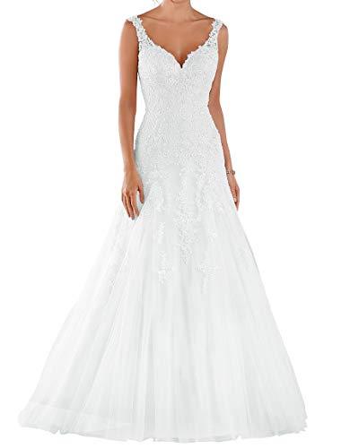 Romantic-Fashion Brautkleid Hochzeitskleid Weiß Modell W105 A-Linie Stickerei Satin Tüll DE Größe 38