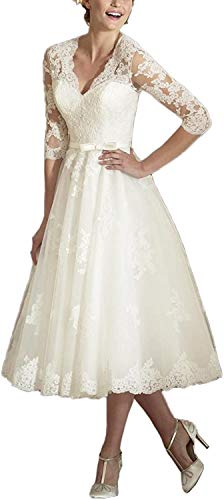 Brautkleider Spitzen A-Linie Hochzeitskleid Kurz Prinzessin Brautmode Langarm Standesamt Vintage Brautkleid Elfenbein 54