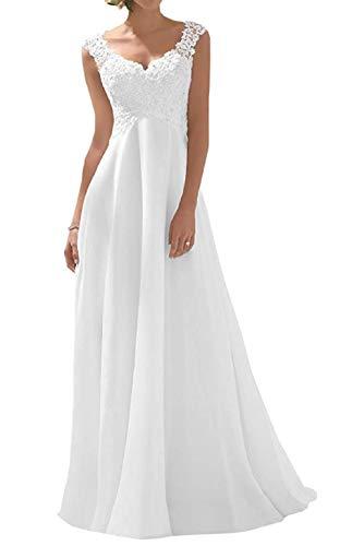Romantic-Fashion Brautkleid Hochzeitskleid Weiß Modell W191 A-Linie Stickerei Chiffon DE Größe 44