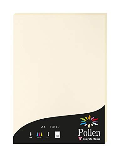 Clairefontaine 4204C Packung mit 50 Karten Pollen 120g, DIN A4, 21 x 29,7cm, Elfenbein