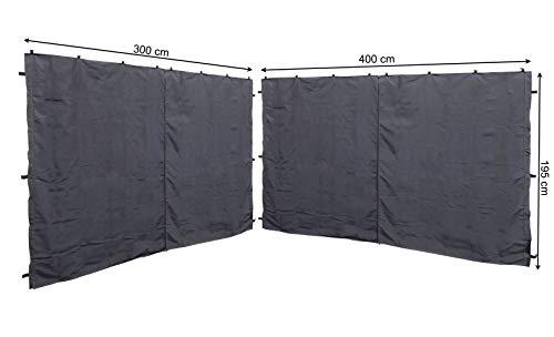 QUICK STAR 2 Seitenteile mit RV für Pavillon 3x4m Seitenwand Anthrazit RAL 7012