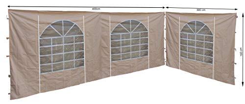 QUICK STAR 2 Seitenteile mit PVC Fenster 300x193cm / 400x193cm für Pavillon Sahara 3x4m Seitenwand Sand