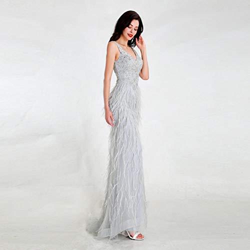 BINGQZ Cocktailkleider/Design Hellgrau Abendkleider Langer rückenfreier, eleganter Tüll mit Perlen verzierten Meerjungfrau-Partykleidern