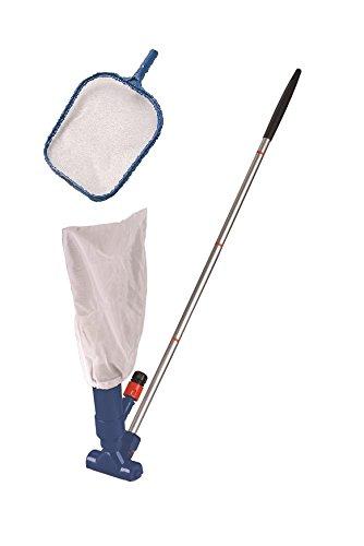 MyPool Reinigungsset für Kartuschenfilteranlagen, Poolreinigungs-Set mit Alu-Stange, Kescher-Aufsatz & Bodensauger, Laubkescher, Bodenreiniger, blau, 3-teilig