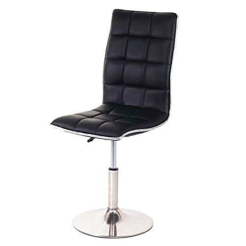 Mendler Esszimmerstuhl HWC-C41, Stuhl Küchenstuhl, höhenverstellbar drehbar, Fuß gebürstet Kunstleder - schwarz