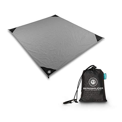 BERGBRUDER Nylon Picknickdecke - Pocket Blanket Wasserdicht, Ultraleicht & kompakt - Ground Sheet, Campingdecke, Stranddecke mit Tasche und Karabiner (150cm x 140cm)