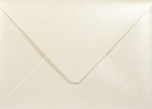 Netuno 25 Perlmutt- Creme DIN B6 Briefumschläge 120g, 125x175mm, Majestic Candelight Cream, Spitzklappe, ideal für Hochzeit, Geburtstag, Taufe,Weihnachten, Einladungen, Gelegenheitskarten
