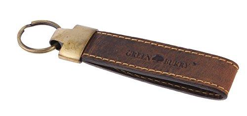 Greenburry Vintage Schlüsselanhänger-Leder braun I Echt Leder Schluesselanhaenger I 12 x 2 cm I Geschenk für Freundin-Freund I Vintage Schlüsselanhänger aus Leder