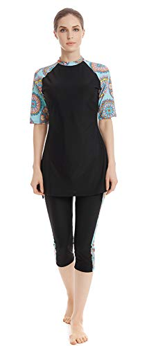 StrawBerrys Modest Swimwear Frauen Surfanzug Muslim Hindu Jüdische Shorts Badeanzug Dame Rash Guard Surfanzug Kostüm (H5, M)