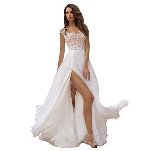HHyyq Elegant Hochzeitskleid Damen Lang Partykleider Spitze Chiffon Brautmode Rückenfrei Weiß Vintage Spitze A Linie Brautkleid Abendkleider(Weiß,M)
