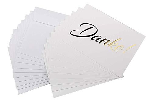 codiarts. 10 Dankeskarten + 10 Umschläge weiß, Danke als goldene glänzende Heißprägung, Danke sagen, Hochzeit, Geburt, Firmung, Geburtstag, Jubiläum (Karte A6 einfach)