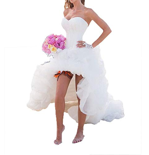 YASIOU Hochzeitskleid Elegant Damen Lang Weiß A Linie Hinten Lang Vorne Kurz Hochzeitskleider Brautkleid Große Größen mit Schleppe