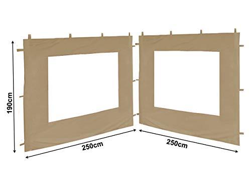 QUICK STAR 2 Seitenteile 250x190cm für Gartenpavillon Antik Pavillon Partyzelt 3x3m Seitenwand Sand
