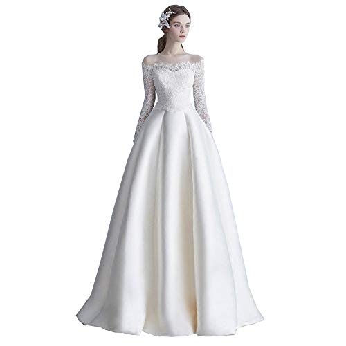 roroz EIN Wort Schulter Hochzeitskleider FüR Damen Lang Prinzessin, Brautkleid Lang Mit äRmeln, Spitze Satin Weiß Langes Kleid, Anpassbar,L