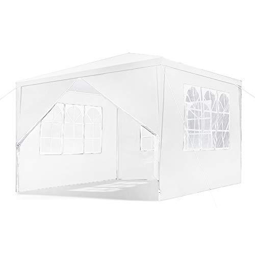 LZQ 3x3M Garten Pavillon Weiß Wasserdicht UV Schutz Festzelt mit 4 Seitenteilen für Garten Terrasse Markt