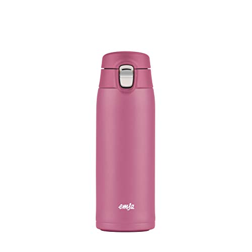 Emsa N2151100 Travel Mug Light Thermo-/Isolierbecher aus Edelstahl   0,4 Liter   6h heiß   12h kalt   BPA-Frei   100% dicht   auslaufsicher   spülmaschinengeeignet   Klappverschlussystem   Rosa