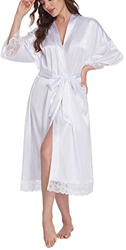 Halffle Morgenmantel für Hochzeit Satin Kimono Badmantel für Braut&Brautjungfern Damen Robe mit Gürtel V Ausschnitt Morgenmantel für Hochzeit Party Pool Party und Pajama Party Weiß S