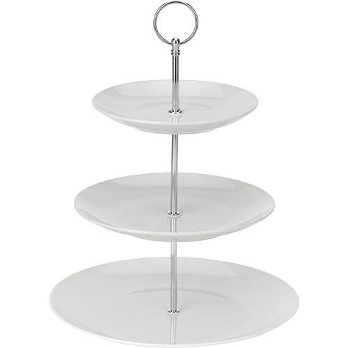 Excellent Houseware 628900040 Etagère Porzellan, 3-stufig, weiß, 3 Ablagefächer
