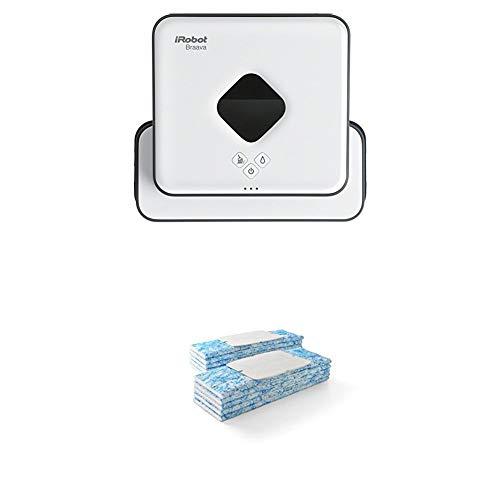iRobot Braava 390t Wischroboter (für mehrere Räume und große Flächen, reinigt Flächen bis zu 92,9 m²) weiß + Braava jet Nasswischtücher (Einwegtücher für die Nassreinigung) blau, 10 Stück