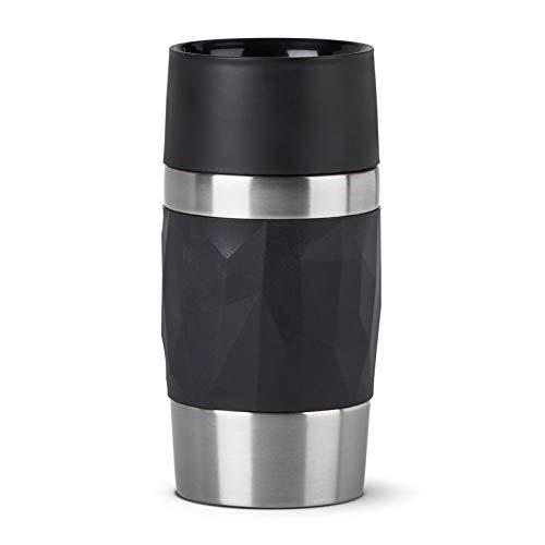 Emsa N21601 Travel Mug Compact Thermo-/Isolierbecher aus Edelstahl   0,3 Liter   3h heiß   6h kalt   BPA-Frei   100% dicht   auslaufsicher   spülmaschinengeeignet   360°-Trinköffnung   Schwarz