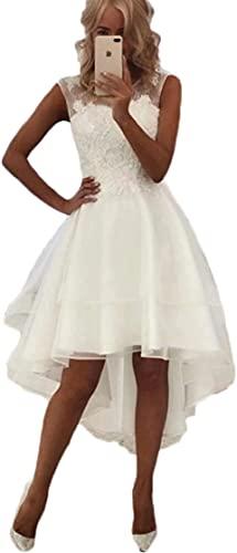 Cloverbridal Damen Spitze Hochzeitskleider Standesamt Hinten Lang Vorne Kurz Boho Böhmischen Brautkleider Strand Elegante Brautmode Festkleider Weiß, 32