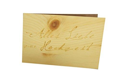myZirbe  - Hochzeitskarte - 100% handmade in Österreich - Postkarte Glückwunschkarte Geschenkkarte Grußkarte Klappkarte Karte Einladung, Motiv:ALLES LIEBE ZUR HOCHZEIT