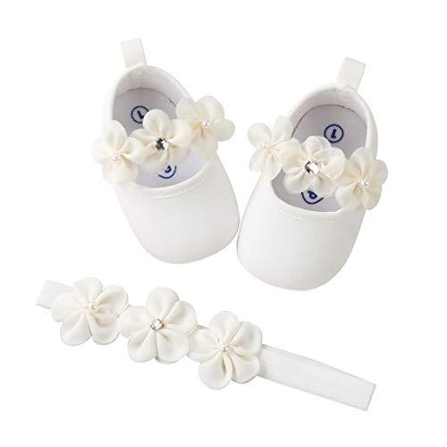 EDOTON 2 Pcs Kleinkind Schuhe+ Stirnband, Baby Mädchen Blumen Schuh Anti-Rutsch-Weiche Besondere Anlässe Taufe Hochzeit Party Schuhe (Weiß, Numeric_17)