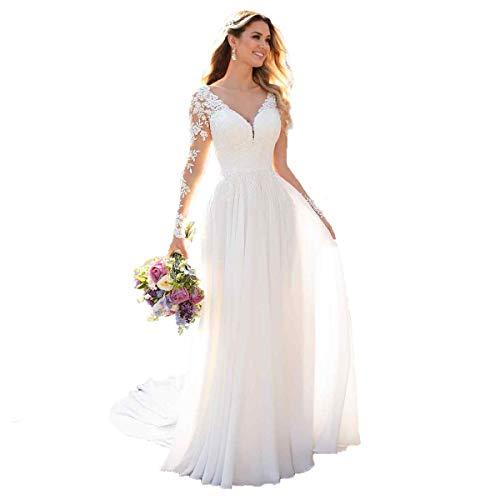 Nanger Damen V-Ausschnitt Hochzeitskleider Lang Ärmel Spitze Chiffon Boho Brautkleider Weiß 36