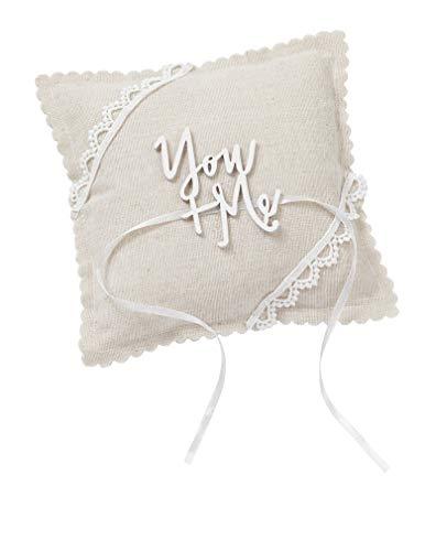 Miss Lovely Ringkissen Hochzeit You + ME beige braun Natur & Creme mit Spitze Traukissen für Ehe-Ringe in Leinen-Optik mit Satin-Schleife Hochzeitsdekoration Zubehör Hochzeit Accessoires & Zubehör