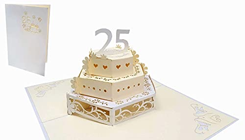 LIN-POP UP Karten Hochzeitskarten, Hochzeitseinladungen, 3D Karten Jahrestag 25.Hochzeitjubiliäum, silberne Hochzeit, 25. Hochzeitstorte