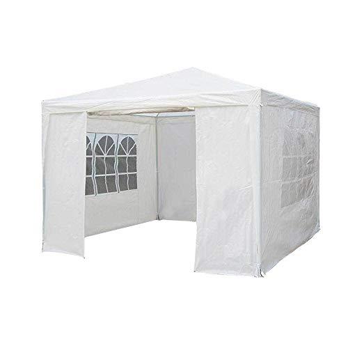 SavingPlus 3Mx3M PET Gartenpavillon-Markisen-Party-Hochzeits-Zelt mit voller Seitenwand (Weiß)