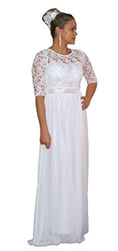 Unbekannt Brautkleid Spitze lang Hochzeitskleid S M L XL XXL XXXL XXXXL Braut Kleid Standesamt Weiß (40)