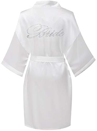 FADSHOW Damen Kurz Satin Kimono Robe Hochzeit Morgenmantel für Braut Brautjungfer Nachthemd Nachtwäsche, Weiß (Braut), Small-Medium