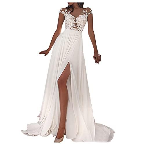 Dasongff Damen Hochzeitskleid Einfarbig Kleider Ärmellos V-Ausschnitt Split Maxi Abendkleid Abendkleid Brautjungfernkleider Spitze Sexy Schlitz Dress Maxikleid Freizeit Langes Kleid für Frauen