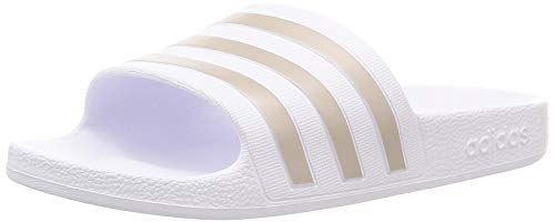 Adidas Unisex Erwachsene Adilette Aqua Dusch-& Badeschuhe, Weiß (Footwear White White/Platin Metallic/Footwear White White), 40.5 EU