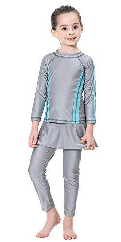 TianMai Mädchen Kinder Muslimische Bademode Islamische Schwimmanzug Badeanzug Burkini Muslim Swimwear (Grau, 140cm)
