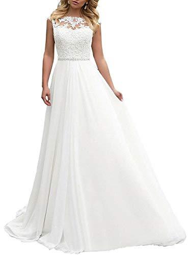 Brautkleid Lang Hochzeitskleider Damen Brautmode Spitze Chiffon A Linie Rückenfrei Weiß EUR44