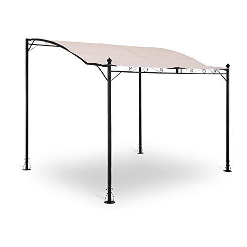 Uniprodo Uni_Gazebo_ 3X2.5B Anbaupavillon freistehend beige 2,6 x 3 m Polyester 180 g/qm Rahmen pulverbeschichteter Stahl