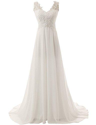 JAEDEN Brautkleid Lang Hochzeitskleider Spitze Strand Damen Brautmode Chiffon V-Ausschnitt Elfenbein EUR46