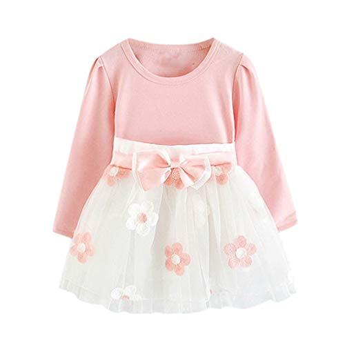 Allence Kleider für Mädchen Kinder Baby Mädchen Langarm Blumen Blumen Prinzessin Kleid T-Shirt Kleidung Set Kinder Kleider Mädchen Blume T-Shirt