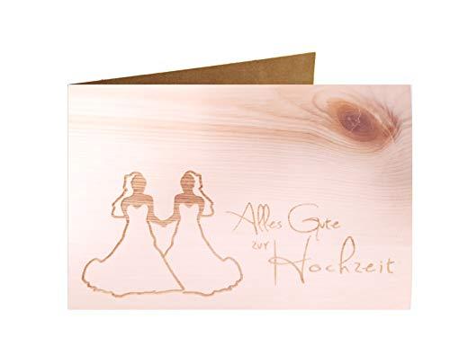 Holzgrußkarte - ALLES GUTE ZUR HOCHZEIT - 100% handmade in Österreich - Postkarte Glückwunschkarte Geschenkkarte Grußkarte Klappkarte Karte Einladung mrs gleichgeschlechtlich
