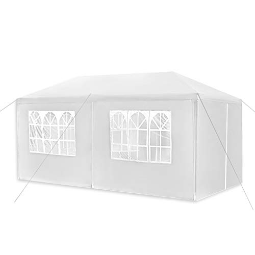 Aufun Pavillon Wasserdicht 3x6 m Weiß Gartenpavillon mit 6 Seitenwände Polyethylen Bierzelt Tür mit Reisverschluss für Garten Party Hochzeit Picknick Markt