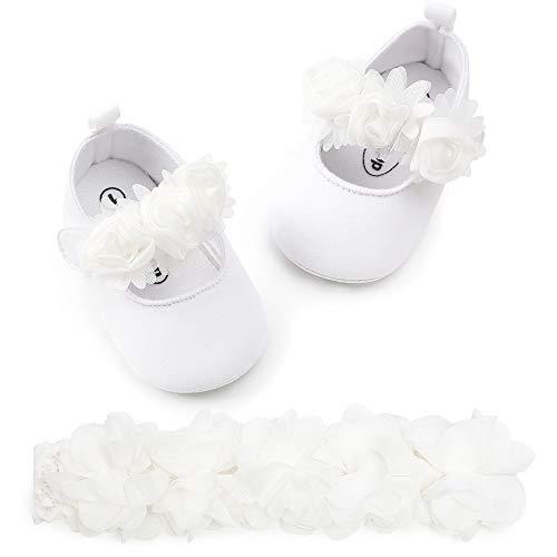 Krabbelschuhe Mädchen Prinzessin Schuhe + Haarbänder, Neugeborene Weiche Anti-Rutsch Baby Schuhe Lauflernschuhe Baby Mädchen Blume Taufe Hochzeit Party Schuhe Sommer Hausschuhe Sandalen