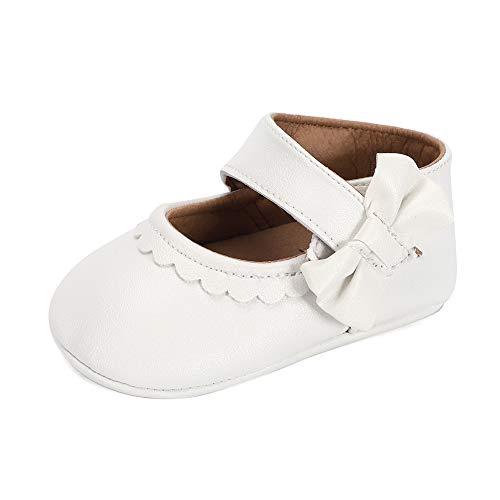 Lacofia Baby Mädchen Ballerina Kleinkind Bowknot Taufschuhe Baby Rutschfeste Krabbelschuhe Weiß 12-18 Monate